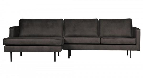 Longchair-Sofa Rodeo links - Leder Black