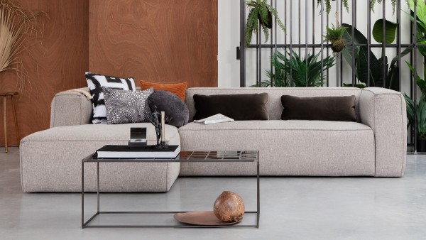 Longchair-Sofa Bean Links - Stoff Light Grey
