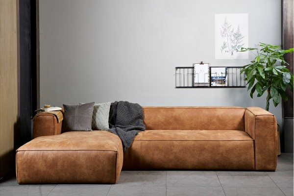 Longchair-Sofa Bean Links - Leder Cognac