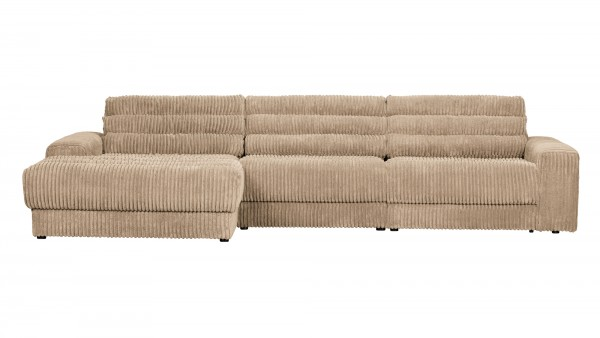 Longchair-Sofa Date Links - Ribcord Travertin