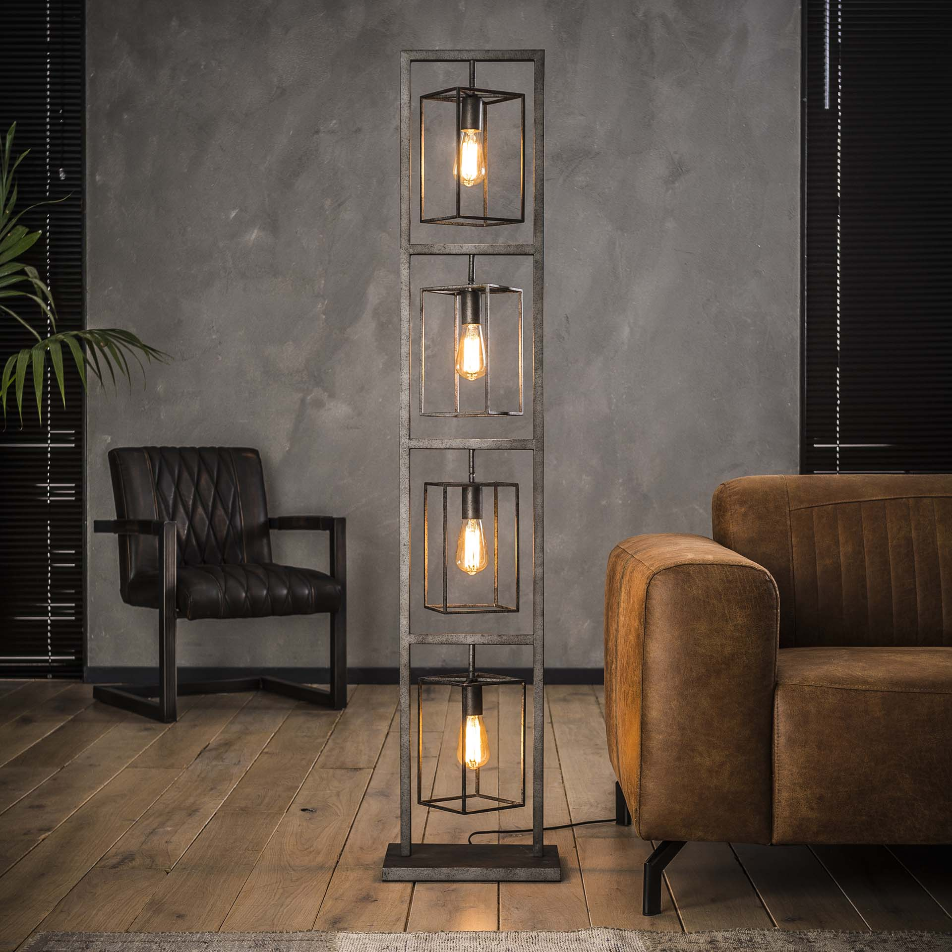 Stehlampe Stehleuchte Lampen Metall Vintage Turm 4 Flammig
