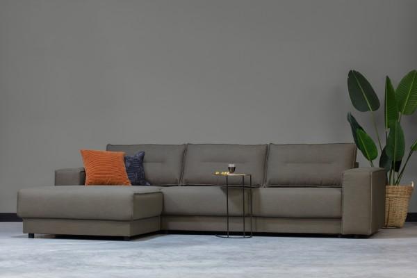Longchair-Sofa Randy Links - Stoff Grün