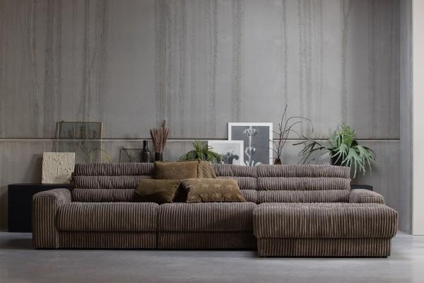 Longchair-Sofa Date Rechts - Ribcord Mud