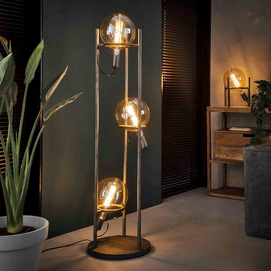 Stehlampe Stehleuchte Lampen Metall In Silber 3 Flammig