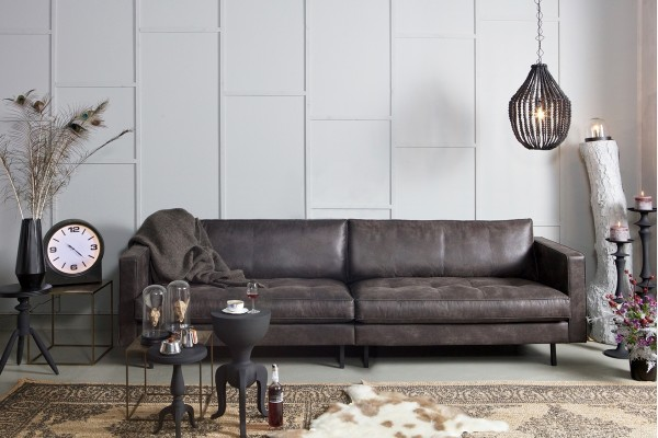 "Sofa Rodeo ""Classic"" 3-Sitzer 275 cm - Leder Schwarz"