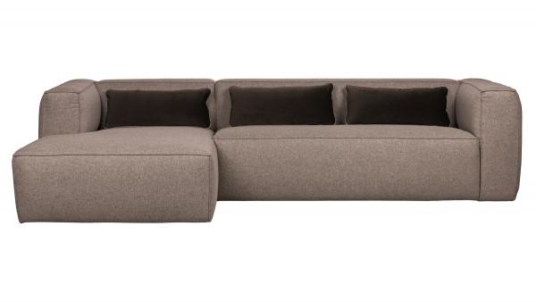 Longchair-Sofa Bean Links - Stoff Taupe