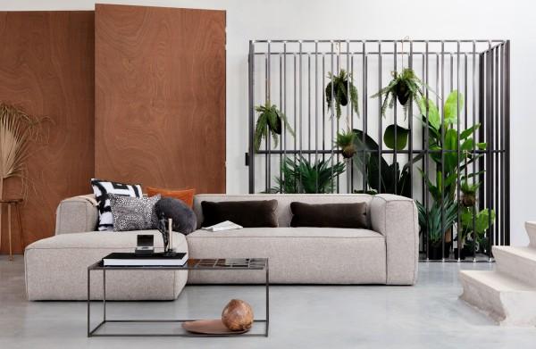 Longchair-Sofa Bean LInks - Stoff Hellgrau