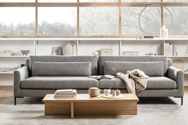 Sofa Hang out 4 Sitzer 280 cm - Stoff Bouclé Hellgrau