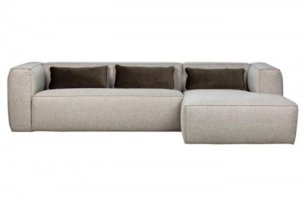 Longchair-Sofa Bean - Stoff Hellgrau incl. Kissen