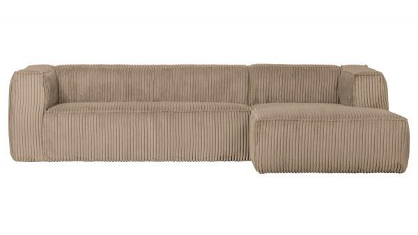 Longchair-Sofa Bean Rechts - Ribcord Travertin