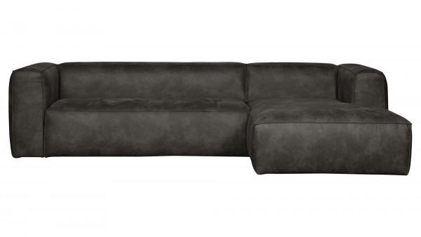 Longchair-Sofa Bean Rechts - Leder Black