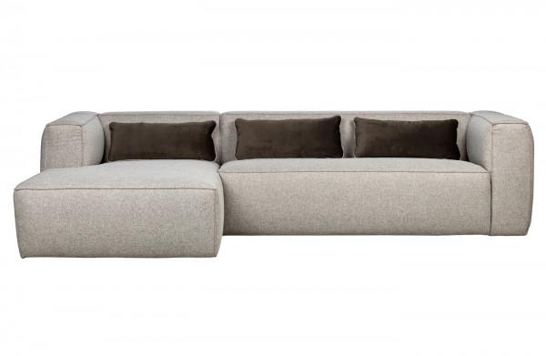 Longchair-Sofa Bean LInks - Stoff Hellgrau incl. Kissen