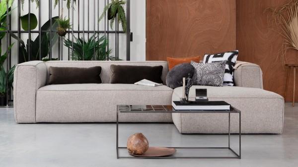 Longchair-Sofa Bean Rechts - Stoff Light Grey