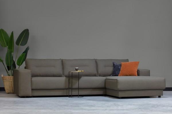 Longchair-Sofa Randy Rechts - Stoff Green