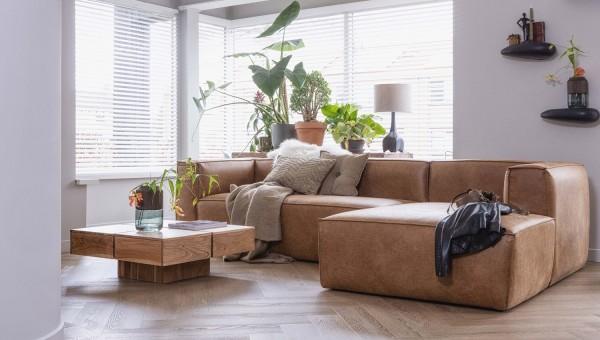Longchair-Sofa Bean Rechts - Leder Cognac