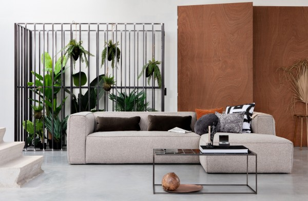 Longchair-Sofa Bean Rechts - Stoff Hellgrau incl. Kissen