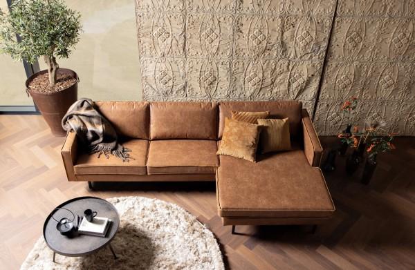 Longchair-Sofa Rodeo Rechts - Leder Cognac