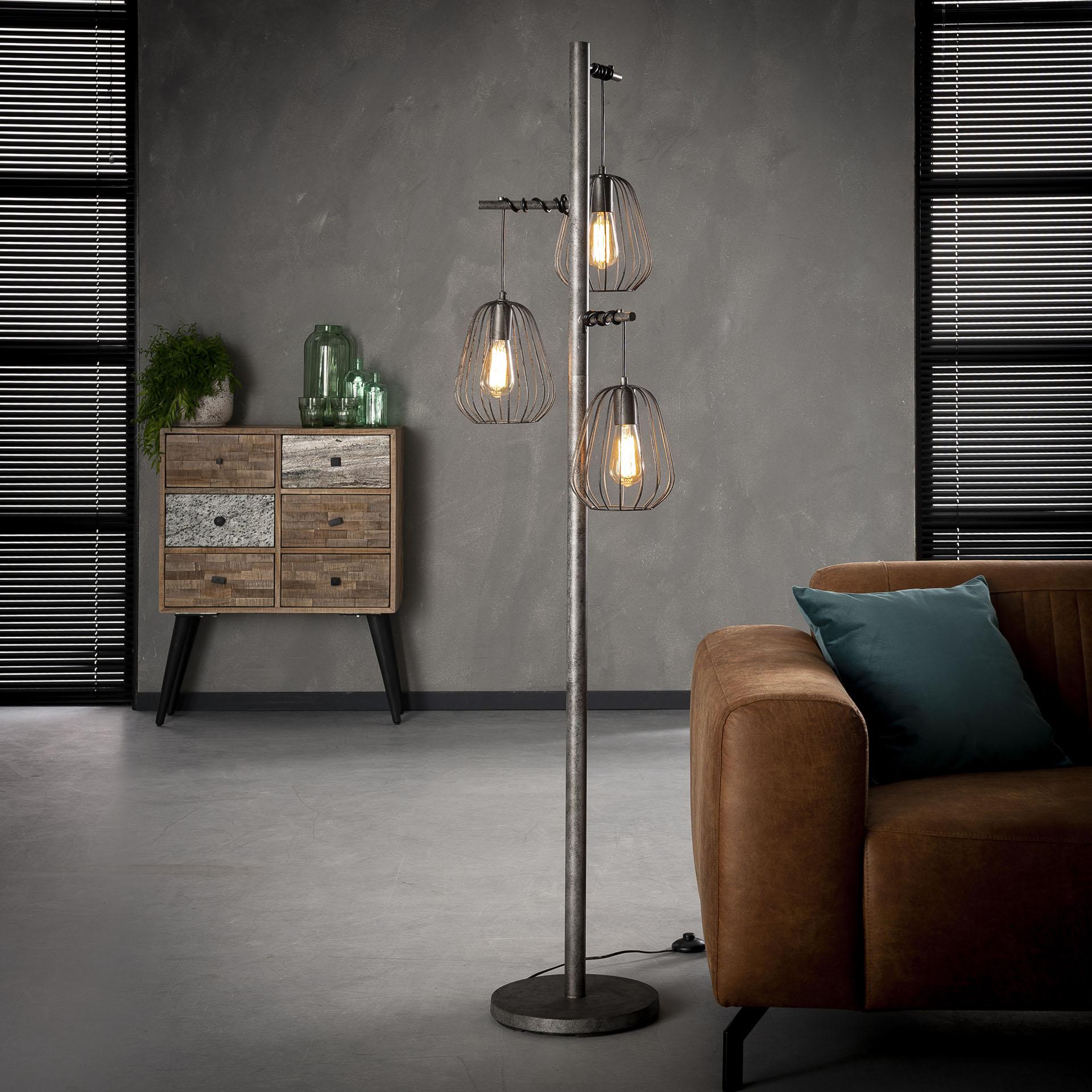 Stehlampe Stehleuchte Lampen Metall Vintage 3 Flammig