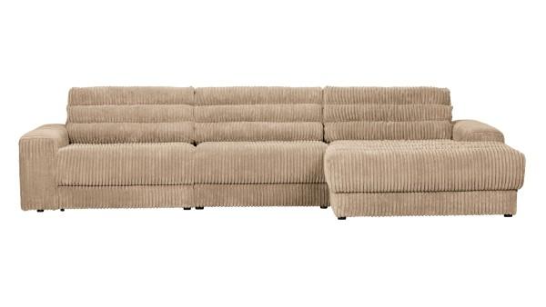Longchair-Sofa Date Rechts - Ribcord Travertin