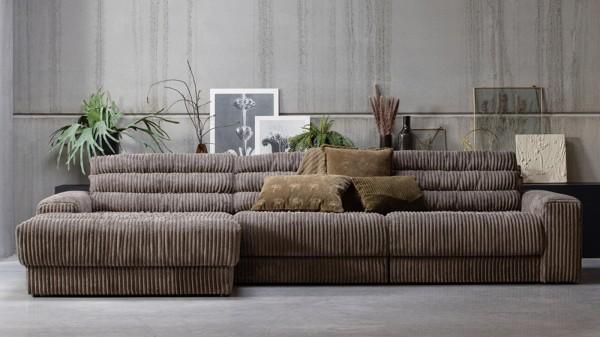 Longchair-Sofa Date Links - Ribcord Mud
