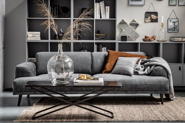 Sofa Brush 3-Sitzer 230 cm - Samt Schiefergrau